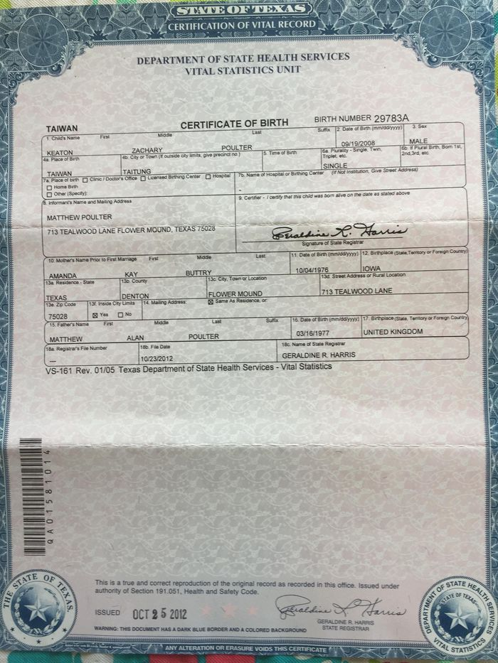 Texas Dept Of Vital Statistics Birth Certificate - Best Design ...